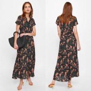 Zara Botton-front Floral Maxi Dress